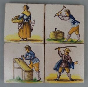4 Antique French Polychrome Ceramic Tiles W Figures 1900 S Lot N2