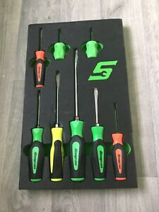 Snap On Screwdrivers In Foam 8pc Green Mix Colours