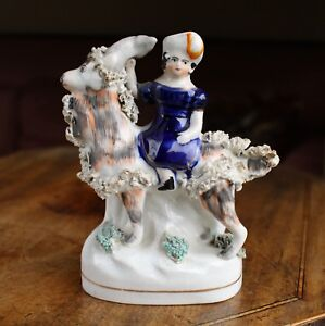 Staffordshire Pearlware Group Dipicting Prince Of Wales Riding A Pet Goat C1850