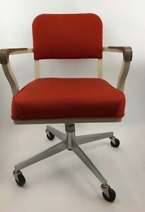 Vtg Steelcase Industrial Swivel Office Arm Chair Rolling Propeller Base Orange