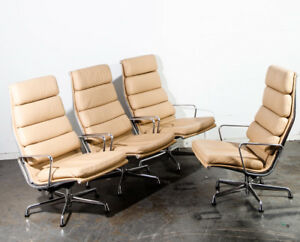 Mid Century Modern Lounge Chair Set 4 Eames Soft Pad High Herman Miller Beige Nm