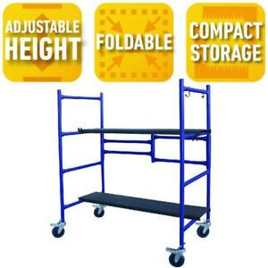Roll And Fold Mini Scaffold Two Adjustable height Steel Deck Boards With Nonslip