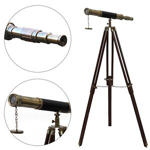 Nautical Floor Standing Antique Leather Griffith Astro Telescope Wooden Tripod