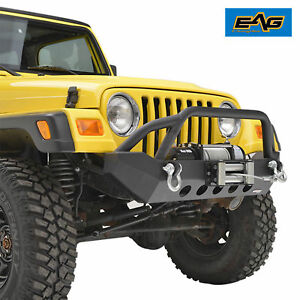 Eag 87 06 Jeep Wrangler Tj Yj Front Bumper W Winch Plate Rock Crawler Textured