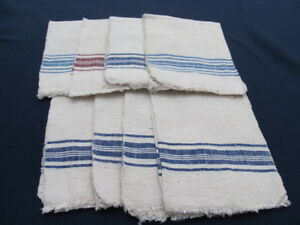 Old Primitive Antiques Hand Wooven Homespun Towels Linens Cotton Lot Ot 8