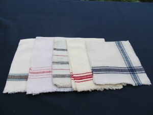 Old Primitive Antiques Hand Wooven Homespun Towels Linens Cotton Lot Ot 5