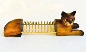 Siamese Cat Desk File Organizer Hand Carved Wood With Gold Tone Metal Dividers