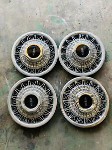 4 Used 1980 1990 Lincoln Town Car Wire Wheel Covers Hubcaps