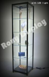 Full Vision Tower Showcase Display Store Fixture With Led Lights sc tw20bk