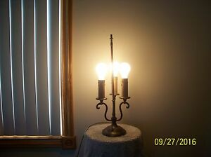 Brass Antique 3 Candle Stick Electric Table Lamp