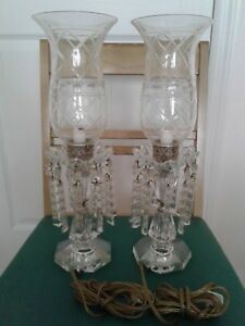Vintage Pair Imported Lead Crystal Hand Cut Hurricane Lamps Glass With Prism Ele