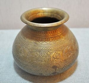 Original Old Antique Hand Crafted Engraved Brass Water Drinking Pot Lota