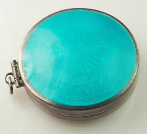Designer Antique Guilloche Blue Enamel Sterling Silver Pill Box Compact Mirror