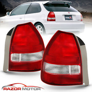For 1996 1997 1998 1999 2000 Honda Civic 3dr Hatchback Red Clear Tail Lights