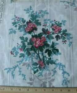 Antique C1870 French Cotton Chintz Floral Sample Fabric Original Tag 13 X 18 5