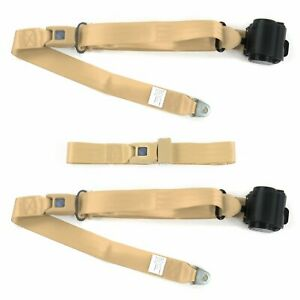 Ford Gt40 1964 1969 Standard 3pt Tan Retractable Bench Seat Belt Kit 3 Belts