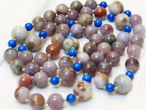 Chinese Vintage Multi Color Agate Lapis Beads Necklace No Clasp