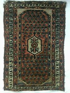 Vintage Antique Persian Wool Prayer Rug Red Blue Geometric Design 3x2