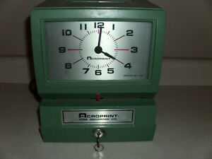 Serviced Acroprint Time Recorder Time Clock Model 150nr4 Tested Working W Key