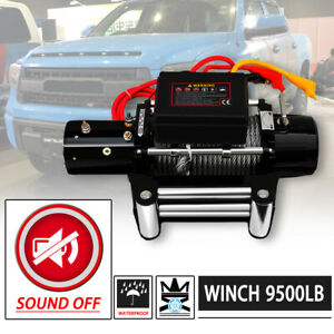 Win 2x 9500lb 12v Electric Sound Off Waterproof Winch Kit W Steel Cable Remote