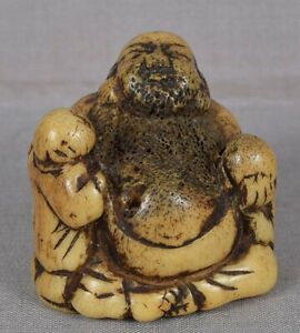Early 19c Staghorn Netsuke Hotei With Boy