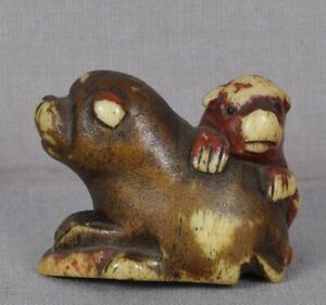 Early 19c Staghorn Netsuke Dog With Puppy Abalone