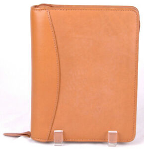 Planner binder 6 Ring franklin Quest tan full Grain Leather 8x6 5 1 Rings