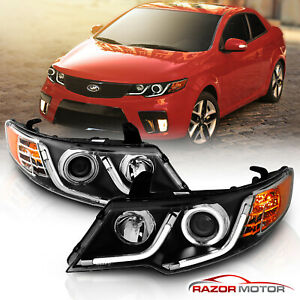 led Halo led Bar Style For 2010 2013 Kia Forte Forte Koup Black Headlights