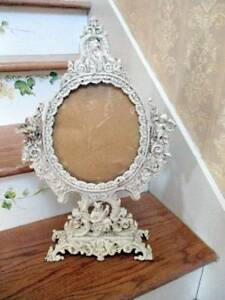 Vintage Chic Heavy Cast Iron Vanity Mirror On Stand Farmhouse Shabby