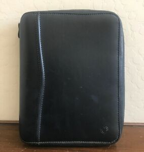 Classic 1 25 Black Leather Franklin Covey Planner Binder Organizer Zip