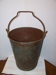 Antique Steel Industrail Bucket Fire Bucket 14 Tall Atlantic