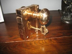 Vintage Sargent Co Brass Deadbolt With Door Knob W Key 4j16