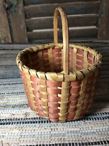 Sweet Old Antique Chippewa Native American Indian Basket With Provenance Aafa