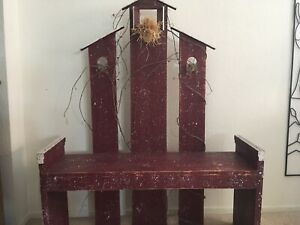 Handcrafted Rare Country Primitive Red Barn Bench New