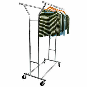 Clothing Rack Rolling Commercial Adjustable Double Chrome