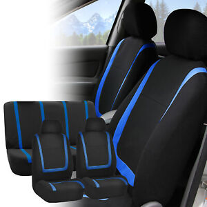 Car Seat Covers Blue Black Full Set For Auto Truck Suv With Headrests