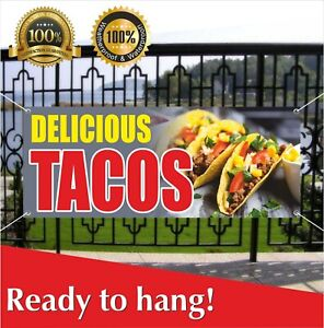 Delicious Tacos Banner Vinyl Mesh Banner Sign Mexican Food Restaurant Stand