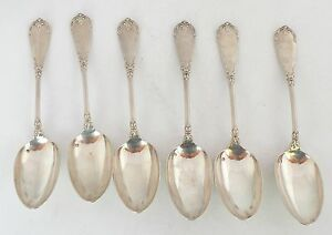 Antique French Sterling Silver Large Ornate Soup Spoons Hallmark 9 5 L 83 Gr