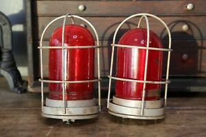 Lot Of 2 Explosion Proof Vintage Industrial Light Lamps Door Exit Red Glass Cage