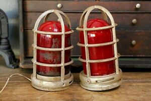 2 Stonco Explosion Proof Vintage Industrial Light Lamps Door Exit Red Glass Cage