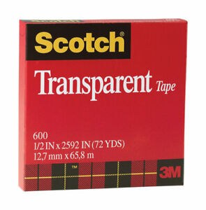 Scotch Transparent Film Tape 1 2 In W X 72 Yd Pack Of 12