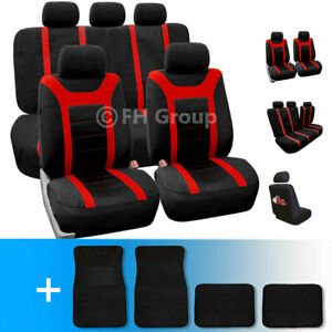Sports Car Seat Covers Complete Set With Carpet Floor Mats Red Black