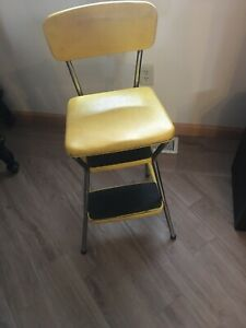 Vintage Yellow Cosco Step Stool Kitchen Metal Mid Century Modern Folding Chair