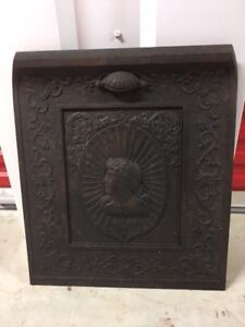 Antique Cast Iron Fireplace Cover Great Intricate Detailing