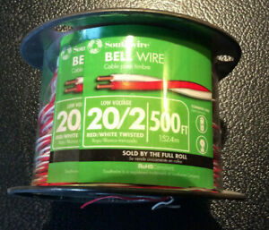 Southwire Bell Wire Solid Copper Twisted Red white 20 2 500 foot
