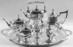 Gorham Sterling Silver Tea Set With Sterling Tray Tilting Hot Water Complete