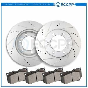 Front Disc Brake Rotors And Ceramic Pads For Toyota Sequoia 2001 2002 Drill Slot