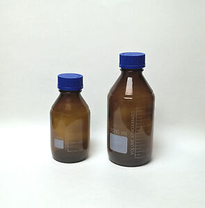 Reagent Bottles 500 1000ml Amber Borosilicate Glass Culture Media Autoclavable