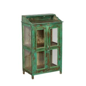 46 Inch High Colorful Blue Green Teak And Glass Display Cabinet With Glass