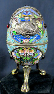 Outstanding Russian Enamel Footed Egg After Faberge Highest Quality